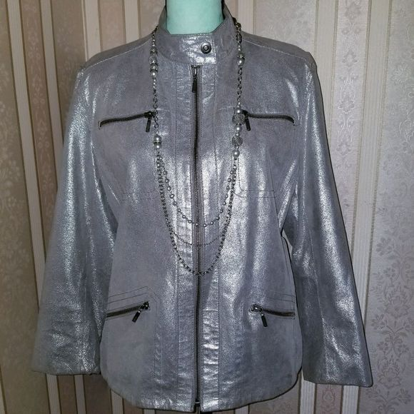 Chico's Jackets & Blazers - Chico's Sparkling Gray Leather Jacket Size 2/Large